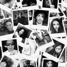 BW Polaroid Collage of Little Mix, 5 Seconds of Summer, and All Time Low. Tile the picture in textile, and it'll look like one big picture! Weird combination, I know, but these are my top favorite bands :-)