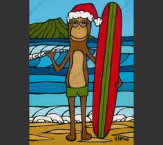 Longboarding with Francis on Christmas Greeting Card by Heather Brown HeatherBrownArt.com