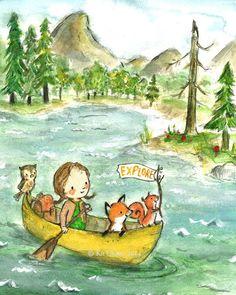 Arte infantil niña de explorador archivo por trafalgarssquare