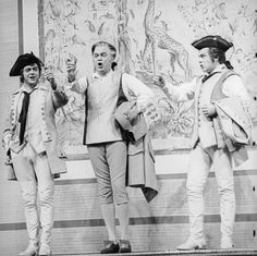 Hermann Prey as Guglielmo, Dietrich Fischer-Dieskau as Don Alfonso and Peter Schreier as Ferrando in Mozart's Così fan tutte | gettyimages