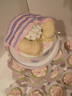 Baby Butt Cake with cupcakes...hilarious