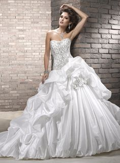 Ball Gown Sweetheart Chapel Train Taffeta Wedding Dress with Embroidery and Beading