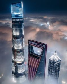 Shanghai Tower, World Financial Center (Beer opener) and Jin Mao Tower from above the clouds. Tour Shanghai, Shanghai Tower, Shanghai Skyline, Futuristic Architecture, Amazing Architecture, Architecture Design, Voyager Loin, Destinations, Above The Clouds