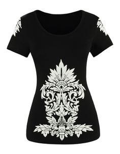 Black Short Sleeve Totem Pattern T-shirt AU$35.10