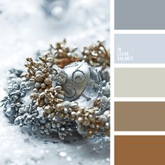 Gold and silver decor for winter or christmas.   Color inspiration for design, wedding or outfit. Moore color pallets on color.romanuke.com.