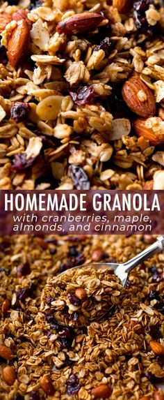 Low Carb Recipes To The Prism Weight Reduction Program Satisfying And Delicious Homemade Granola With Maple, Sweet Cranberries, Crunchy Almonds, And Cinnamon Spice Recipe On Breakfast Desayunos, Breakfast Recipes, Vegetarian Recipes, Cooking Recipes, Healthy Recipes, Sweet Recipes, Cooking Tips, Healthy Snacks, Healthy Eating