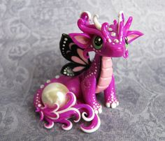 Baby Butterfly Dragon by DragonsAndBeasties, Mar 2014 in Artisan Crafts > Miniatures > Fantasy Polymer Clay Dragon, Polymer Clay Figures, Polymer Clay Sculptures, Polymer Clay Animals, Fimo Clay, Polymer Clay Projects, Polymer Clay Charms, Polymer Clay Creations, Sculpture Clay