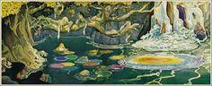 lagoons of rainbow pools and gazebos at dusk. Art from Fantasia