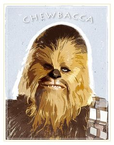 Star Wars - Chewbacca print - or print - Starwars poster Star Wars character print Boba Fett Helmet, Star Wars Boba Fett, Cuadros Star Wars, Star Wars Nursery, Star Wars Prints, Star Wars Poster, Beautiful Posters, Chewbacca, Star Wars Characters