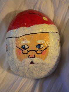 Christmas Santa Claus hand painted rock