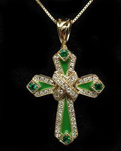 St Patrick Catholic Emerald Diamond & Enamel Cross Pendant 14k Yellow Gold Catholic Cross St. Patrick's Day Jewelry Emerald Cross by JamieKatesJewelry on Etsy https://www.etsy.com/listing/240659124/st-patrick-catholic-emerald-diamond