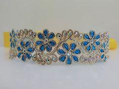 Blue embroidery floral sash, Flower sash, Rhinestone bridal sash, Wedding gown sash, Dress sash, Jeweled lace sash, Beaded sash, Party belt