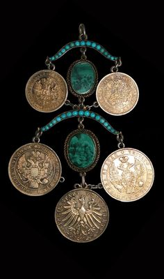 Tatarstan - Kazan   Head ornament; silver, turquoise, malachite   19th century    The museum refers to it as a barrette