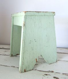Vintage Painted Wooden Stool by luckyjunk on Etsy, $38.00