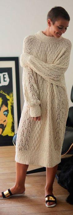 White Oversize Knit Maxi Dress