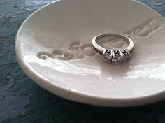 Ring Dish Forever Design in Classic White by ChrissyAnnCeramics