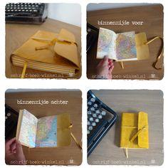Handgebonden notitieboekje met schutbladen van atlas papier, regio New York. Bijzonder geel lederen kaft en afwisselend crèmekleurige en gele bladzijden. Verkocht. Wil je een atlasnotitieboek op maat? info@schrijf-boek-winkel.nl