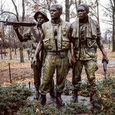 • Courage, honor, integrity • The late Frederick Hart, who had won third place in the original Vietnam Veterans Memorial design competition, was selected to create a representational sculpture that resembled a heroic, life-like depiction of a soldier. The sculpture was in response to The Wall's initial controversy. #courage #honor #integrity #heroism #soldier #Marine #bronze #sculpture #powerful #VietnamWar #heroic #washingtondc