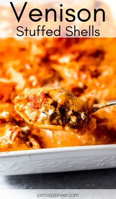 All the delicious flavors of million-dollar lasagna transformed into venison stuff shells! Rich and creamy cheese filling combined with ground venison, stuffed into shells and topped with a tasty combination of alfredo and marinara sauce. Deer Recipes, Wild Game Recipes, Venison Meat, Venison Tenderloin, Sausage Recipes, Cooking Recipes, Pasta Recipes, Lasagna Stuffed Shells, Al Dente
