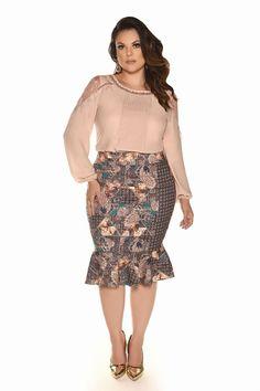 Curvy Inverno 2017 - Fascinius Moda Evangélica Plus Size Looks, Curvy Plus Size, Plus Size Fashion For Women, Plus Size Women, Plus Size Dresses, Plus Size Outfits, Curvy Girl Fashion, Womens Fashion, Plus Size Summer Outfit