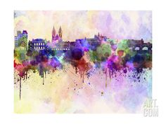 Prague Skyline in Watercolor Background Art Print by paulrommer at Art.com