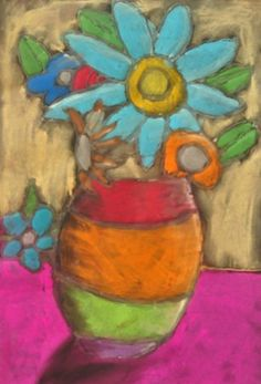 To create this still life, students sketched a simple vase with flowers. They applied glue to their pencil lines. Students spent the next two weeks adding their own vivid color with chalk pastel, finger blending each area, and adding highlight and shadow with white and black. Students were quite creative with the backgrounds, flower colors, vase designs and even the table
