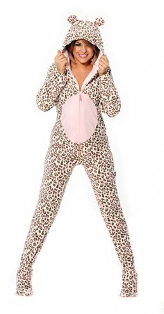 7d82b1221c7 Adult Footed Costume Pajamas - Our Pink Giraffe Jammerz are loaded with  extras- Realistic giraffe markings