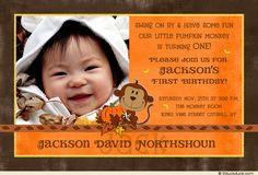 handmade monkey invitations for boys | Fall Monkey Birthday Invitation - Pumpkin & Leaves Orange Photo