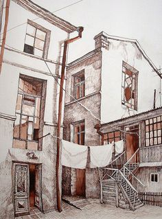 Old area-Moldavanка. on Behance Building Drawing, Building Art, Landscape Drawing Easy, Cow Canvas, Paris Illustration, Dancing Drawings, City Drawing, Nature Sketch, Background Drawing