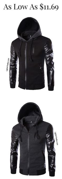 Casual sporty men hoodie jacket in black and grey colours at just $15.29. Click on the picture to shop.