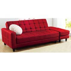 ソフト合皮のスツール付ソファーベッド