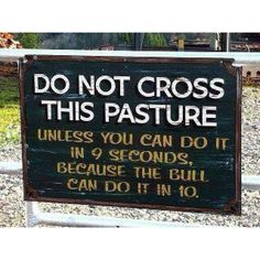 Im definitely painting this sign for my pasture!! But it DEFINITELY reminds me of my Aunt Loraine's bull when all us cousins were running from the pond to the house but you always had to check 1st before crossing to see where the bull was 1st!! LOL!!!