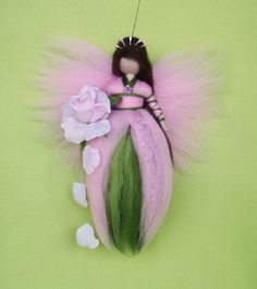 Needle Felted ROSE FAIRY Doll Angel Fairies Wool by  Holichsmir Nadelfilzen Fee Elte
