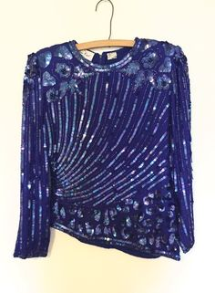 Vintage Lawrence Kazar Art Deco Embellished Blue Top | eBay