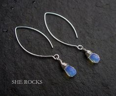 Sterling Silver wire wrapped Opal Quartz earrings on long hooks or studs Opal jewelry October Birthstone gift