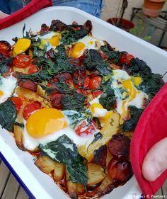 #Country #potatoes, #chorizo, #épinards et #tomates. #Recette #Ottolenghi