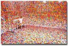 SO cool - art project where kids were given a white room and polka dot stickers. beautiful