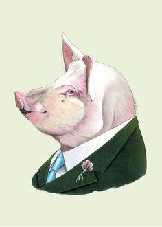 Etsy の Pig print 5x7 by berkleyillustration