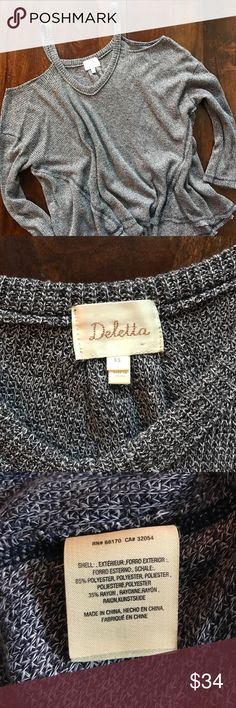 """Anthropologie • Deletta • open shoulder sweater Anthropologie • Deletta • open shoulder sweater • blue and white knit • long sleeve • soft and comfortable • all measurements were taken flat and are approximate: pit to pit 26"""" 