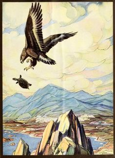 """""""'Now then!' Cried the eagle."""" Illustration by Paul Bransom. _An argosy of fables_ c. 1921"""