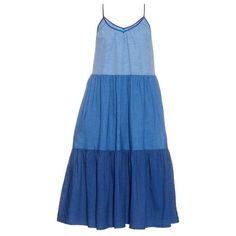 M.i.h Jeans Sunset tiered linen and cotton-blend dress ($330) ❤ liked on Polyvore featuring dresses, blue multi, blue dress, cotton blend dresses, mid calf dresses, blue midi dress and tiered dress