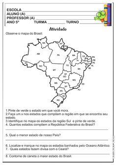 Atividade  Geografia  5º Ano Estados Brasileiros