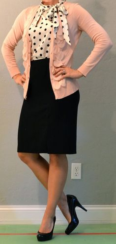 black pencil skirt outfits | ... : outfit post: pink cardigan, polka dot blouse, black pencil skirt