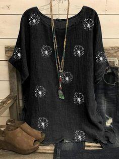 Dandelion Printed Cotton And Linen Short-Sleeved Blouse - holapick.com Womens Fashion Online, Latest Fashion For Women, Plus Size Blouses, Plus Size Tops, Printed Blouse, Printed Cotton, Cotton Linen, Linen Tshirts, Linen Blouse