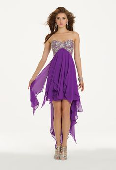 Camille La Vie Strapless Handkerchief Prom Dress with High-Low Silhouette
