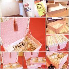 DIY Weinlese-Blumen Karton Schmuck-Box 1