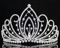 Janefashions Blossom Pageant Rhinestone Crystal Tiara Crown w/ Hair Combs Bridal Prom T1294 >>> This is an Amazon Affiliate link. See this great product.