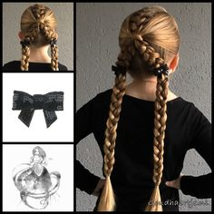French braid with dutch braids into pigtails