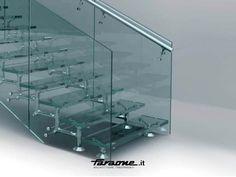 Escalera abierta de acero inoxidable y vidrio REGALE