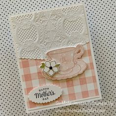 STEP MUM Mothers Day Card Pretty Floral Flower Letters Gingham Polka Dots Button